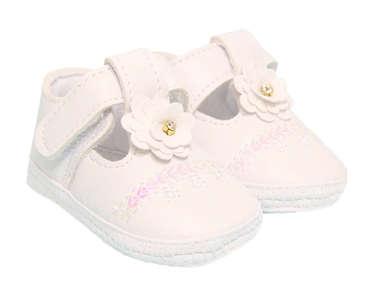 Sapato Bebê Menina Florzinha e Strass Branco