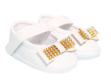 Sapato Bebê Menina Laço e Strass Branco