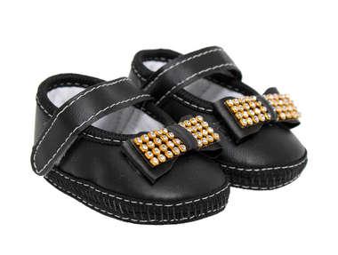 Sapato Bebê Menina Laço E Strass Preto