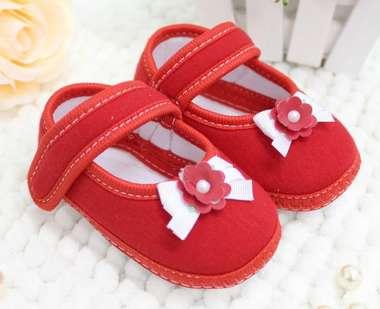 Sapato Bebê Menina Florzinha Vermelho