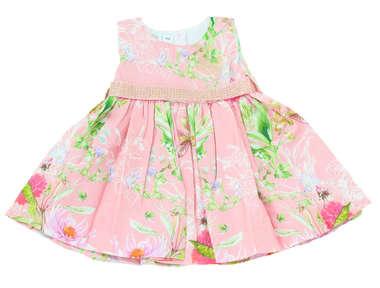 Vestido Bebê Flores  Rosa