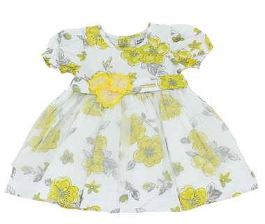 Vestido Bebê Floral Amarelo