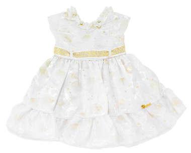 Vestido Bebê Batizado Branco e Dourado