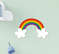 Kit Quadro Infantil Menina Flâmula Placa e Palavra Decorativa Flores Arco-íris