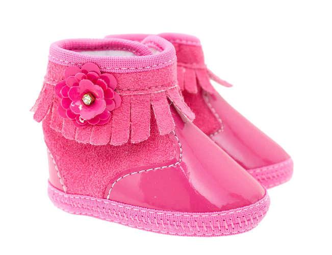 aaf81748b Botinha Bebê Menina Franjas Rosa Pink
