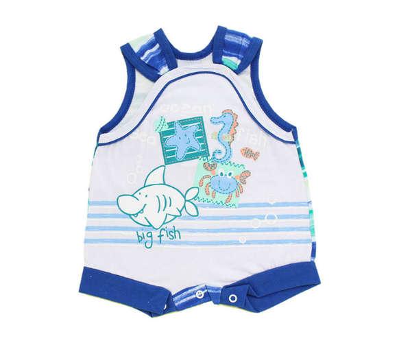 00780c3b53 Macacão Curto Bebê Menino Sea Branco e Azul