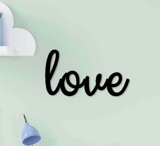 Palavra Decorativa Infantil Love Preta