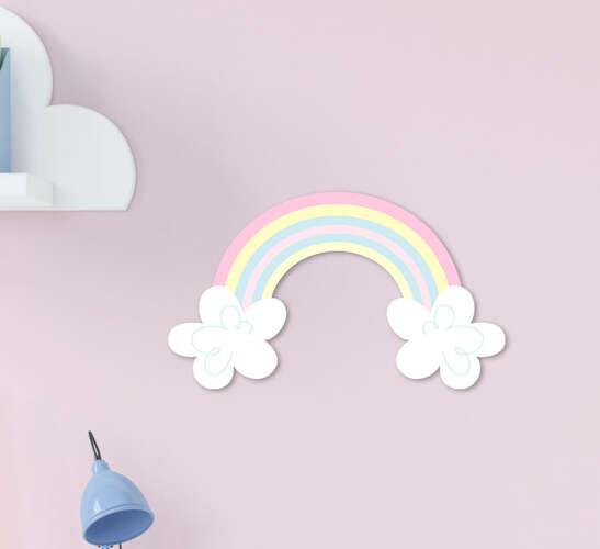 Placa Decorativa Infantil  Menina Arco-íris Rosa