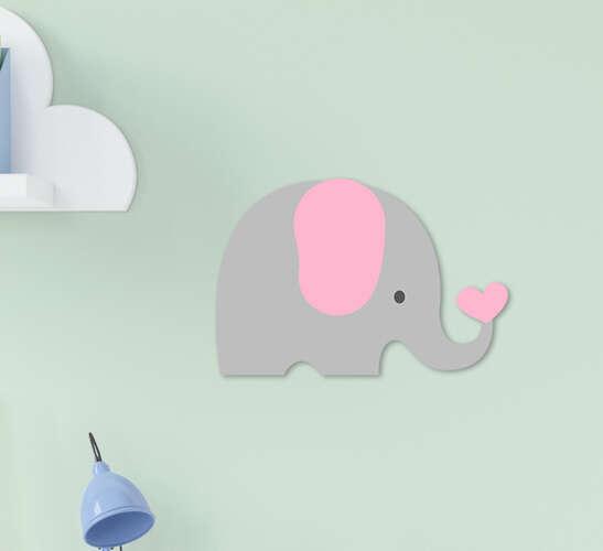 Placa Decorativa Infantil Menina Elefantinho Cinza Rosa