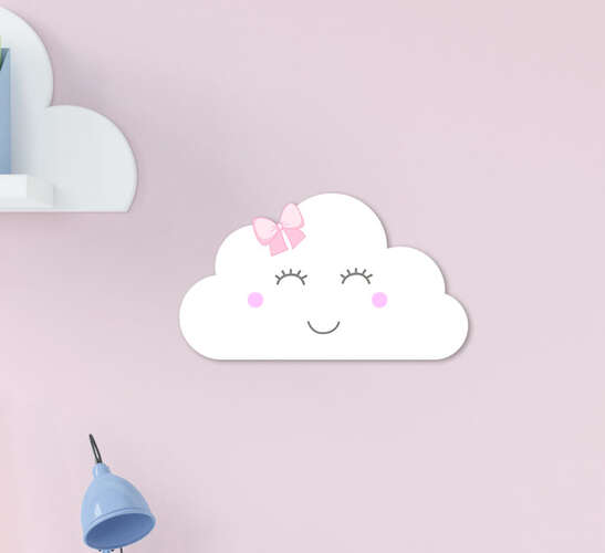 Placa Decorativa Infantil Menina Nuvem Branca