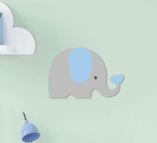 Placa Decorativa Infantil Menino Elefantinho Cinza Azul