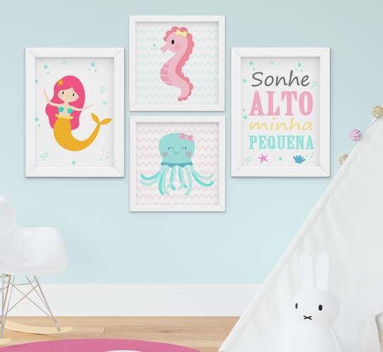 Quadro Infantil Bebê Menina Sereia Fundo do Mar Kit 4 Peças