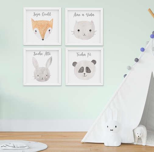 Quadro Infantil Bebê Menino Menina Animais Aquarela Kit 4 Peças