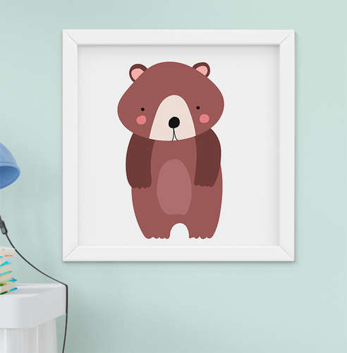 Quadro Decorativo Infantil Bebê Menina Menino Bichos da Floresta Urso