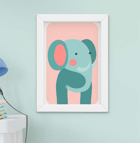 Quadro Decorativo Infantil Bebê Menino Menina Elefantinho