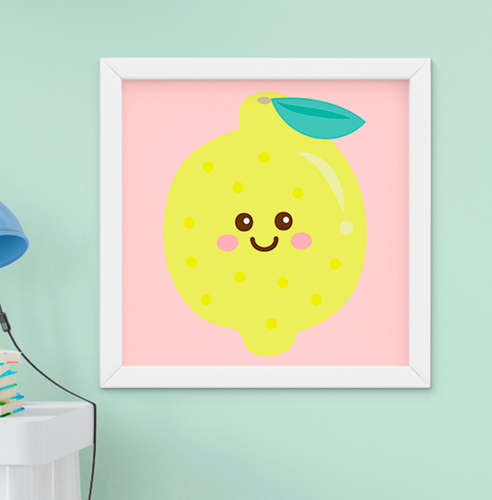 Quadro Bebê Infantil Menino Menina Fruta Limão