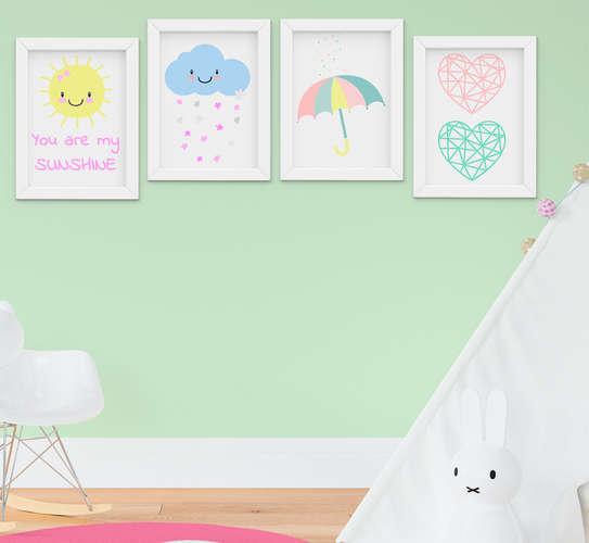 Quadrinho Infantil Bebê Menina Chuva de Amor Kit 4 Peças