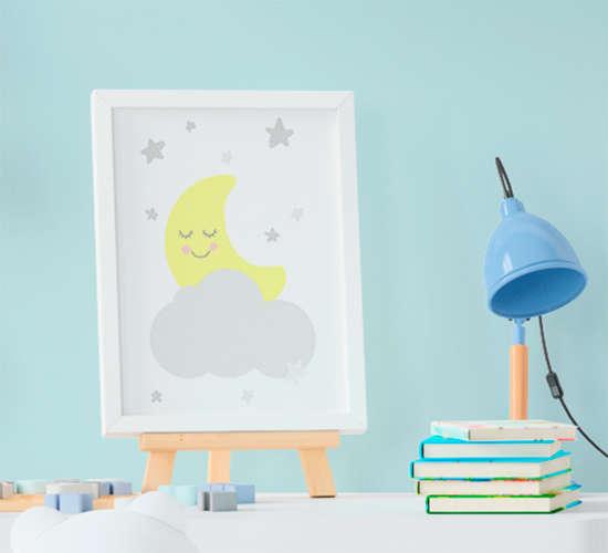 Quadro Decorativo Infantil Bebê Menino Lua e Nuvem