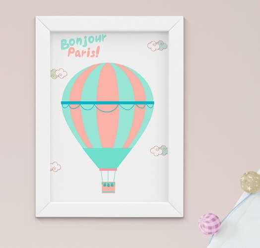 Quadro Infantil Bebê Menina Paris Balão