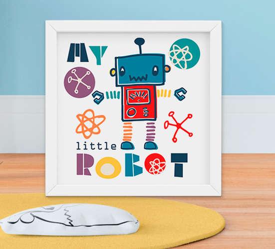 Quadro Infantil Robozinho Little Robot