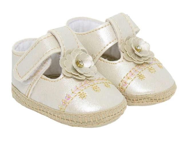 935c3b325a Sapato Bebê Menina Boneca Florzinha Dourado