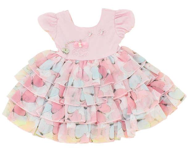 eea4ac406 Vestido Bebê Borboletas Rosa