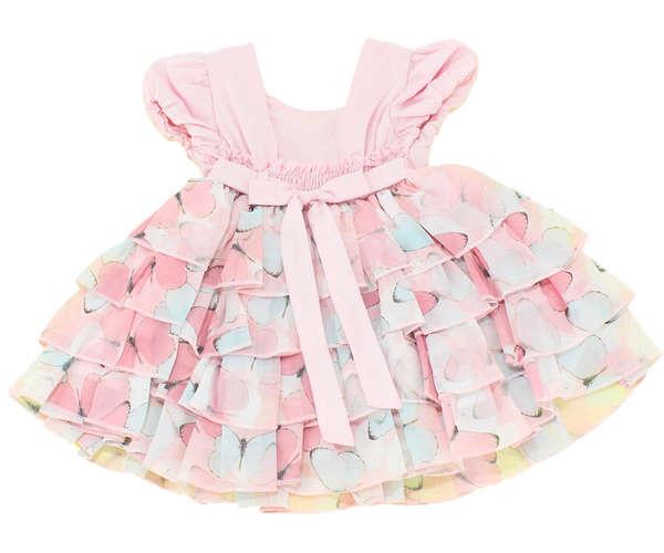 Vestido Bebê Borboletas Rosa afdfdc004e3c